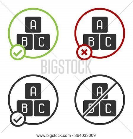 Black Abc Blocks Icon Isolated On White Background. Alphabet Cubes With Letters A, B, C. Circle Butt