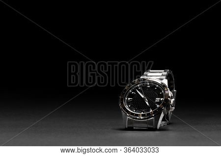 Luxury Watch With Black Background. Watch On A Black Background Isolated. Leather Belt. 40mm Disc. W