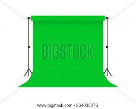 Green Paper Studio Backdrop. Photo Studio. Flat Style. Isolated On White Background