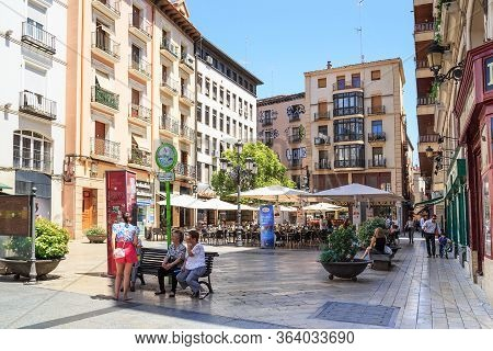 Zaragoza, Spain - May 26, 2017: This Is A Small Pedestrian Santjago Sas Square With Numerous Cafes I