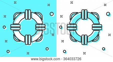 Black Line Lifebuoy Icon Isolated On Green And White Background. Lifebelt Symbol. Random Dynamic Sha