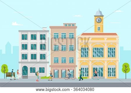 Flat Apartment In Town With People Walking Around.town, Leisure Outside Concept.vector Illustration.