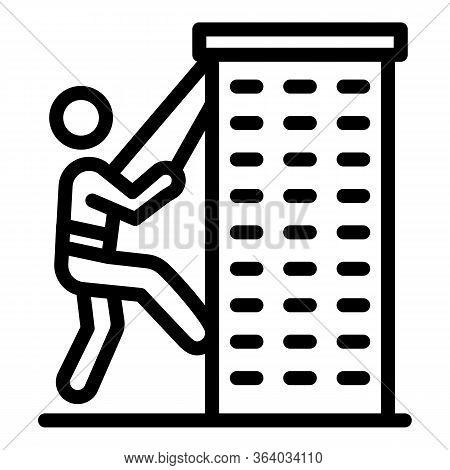Climber Climbs The Tower Icon. Outline Climber Climbs The Tower Vector Icon For Web Design Isolated