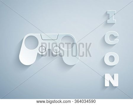 Paper Cut Gamepad Icon Isolated On Grey Background. Game Controller. Paper Art Style. Vector Illustr