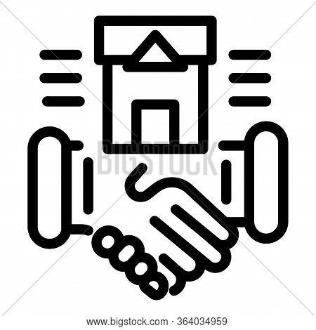 Handshake And Residence Icon. Outline Handshake And Residence Vector Icon For Web Design Isolated On