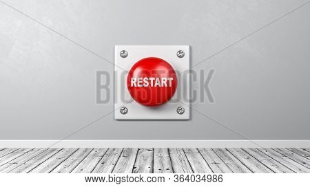 Red Button With Restart Text Against Gray Wall In The Room 3d Illustration