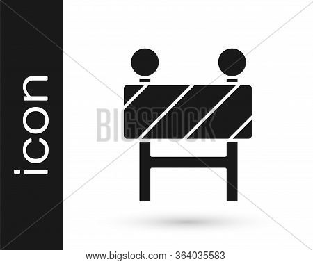 Grey Road Barrier Icon Isolated On White Background. Symbol Of Restricted Area Which Are In Under Co