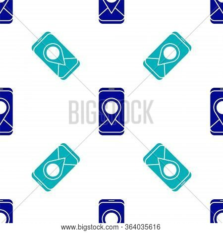 Blue Infographic Of City Map Navigation Icon Isolated Seamless Pattern On White Background. Mobile A