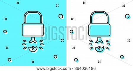 Black Line Key Broke Inside Of Padlock Icon Isolated On Green And White Background. Padlock Sign. Se