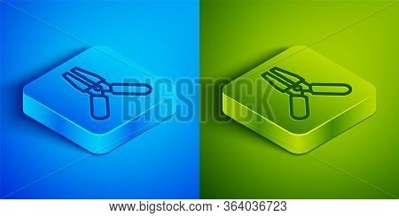 Isometric Line Car Battery Jumper Power Cable Icon Isolated On Blue And Green Background. Square But