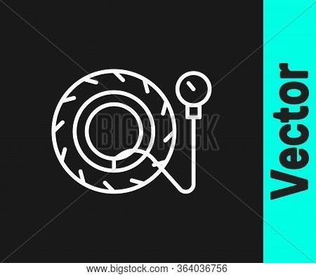White Line Tire Pressure Gauge Icon Isolated On Black Background. Checking Tire Pressure. Gauge, Man