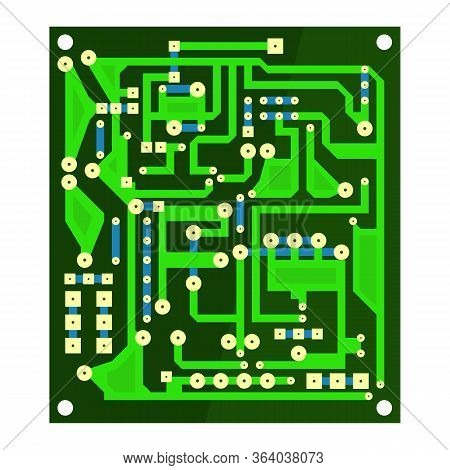 Green Circuit Board Isolated On White Background. Flat Design. Modern Computer Technology Background