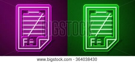 Glowing Neon Line Exam Paper With Incorrect Answers Survey Icon Isolated On Purple And Green Backgro