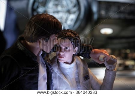 APRIL 29 2020: Scene from Star Wars with Han Solo and Princess Leia Organa sharing a romantic moment - Hasbro action figures