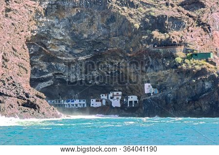 Poris De Candelaria, Cave Village On Coastline And Atlantic Ocean Near Tazacorte On West Coast Of La