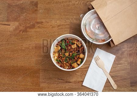 Takeaway Asian Food Delivery On Wooden Table With Copy Space, Top View