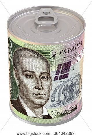 Financial Reserve In Ukrainian Currency. Tin Can With A Label In The Form Of A Banknote Of 500 Ukrai
