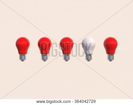 Think Of A Different Concept A White Bulb Protruding From The Red Bulbs On A White Wall Background W