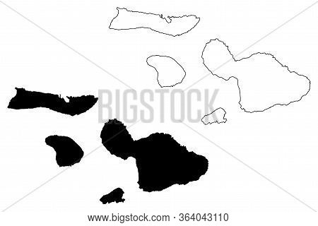 Maui County, Hawaii (u.s. County, United States Of America, Usa, U.s., Us, Archipelago) Map Vector I