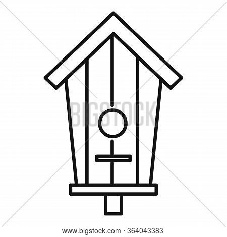 Tree Trunk Bird House Icon. Outline Tree Trunk Bird House Vector Icon For Web Design Isolated On Whi