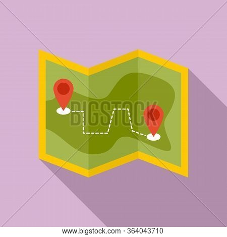 Hiking Map Icon. Flat Illustration Of Hiking Map Vector Icon For Web Design
