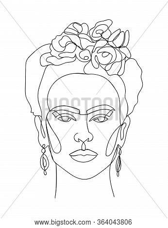 Frida Kahlo Vector Portrait Single Line Sketch. - Vector Illustration