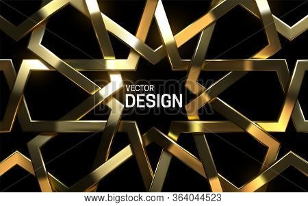 Golden Arabic Pattern. Vector 3d Illustration. Realistic Woven Frame. Girih Ornament. Islamic Geomet