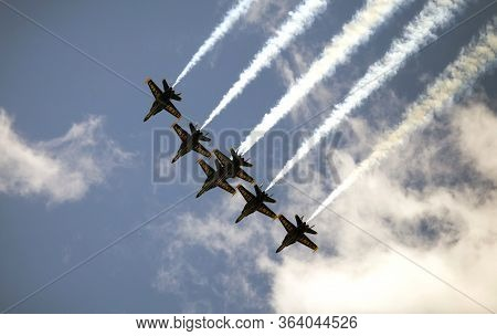 New York, New York/usa - April 28, 2020: Blue Angels Aircraft Fly Over City To Honor Healthcare And