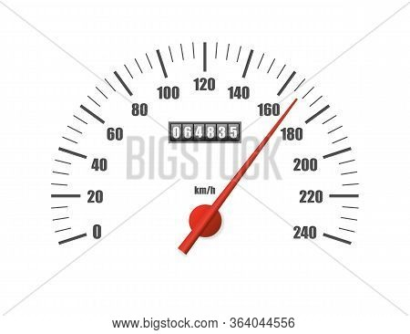Realistic Speedometer Isolated On White Background. Sport Car Odometer With Motor Miles Measuring Sc