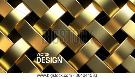 Golden Wicker Pattern. Vector 3d Realistic Illustration. Luxury Woven Texture. Metallic Weave Ribbon