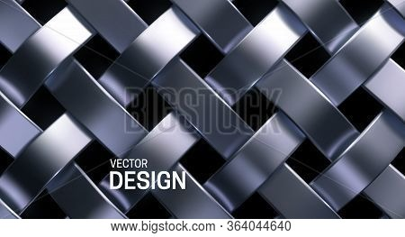 Silver Wicker Pattern. Vector 3d Realistic Illustration. Luxury Woven Texture. Metallic Weave Ribbon