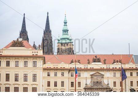 Nove Kralovsky Palac Or New Royal Palace In Prague Castle (prazsky Hrad), Seen From Its Main Entranc