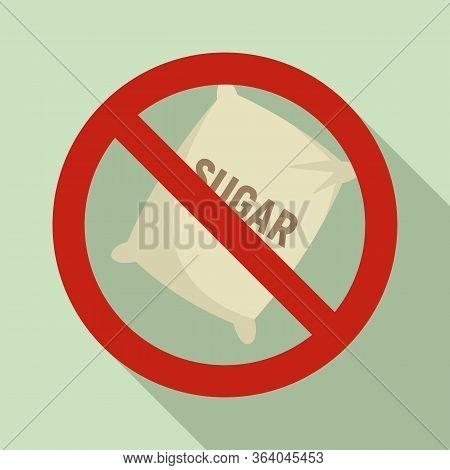 No Sugar Sack Icon. Flat Illustration Of No Sugar Sack Vector Icon For Web Design