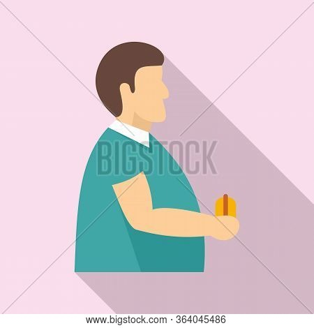 Fat Man Diabetes Icon. Flat Illustration Of Fat Man Diabetes Vector Icon For Web Design