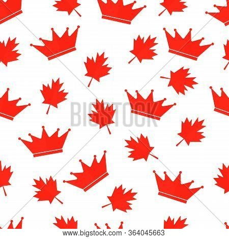 Red Maple Leaves And Crown Canadian Seamless Pattern. Victoria Day In Canada Background. Vector Temp