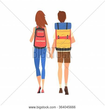 Happy Couple Walking Holding Hands, Tourists Travelling And Sightseeing With Backpacks, View From Be