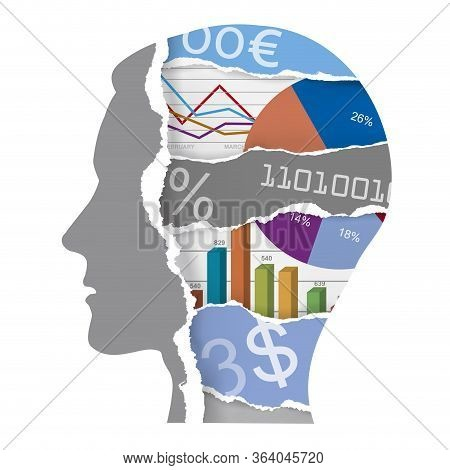 Businessman, Chaos In Head, Economic Results, Economical Crisis. Expressive Illustration Of Stylized