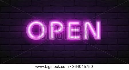Glowing Violet Neon Script Open. Vector Font For Typography Design. Bright Font With Fluorescent Tub
