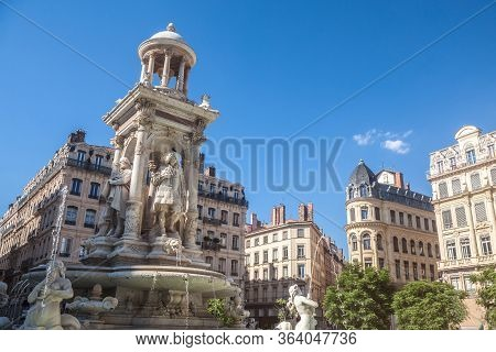 Place Des Jacobins Square In Lyon With Its Iconic Fountain From The 19th Century. It Is One Of The M