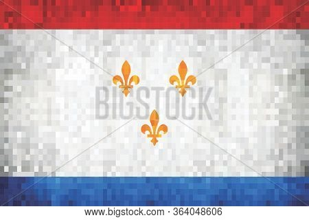 Grunge Mosaic Flag Of The City Of New Orleans - Illustration