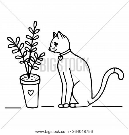 Hand-drawn Vector Illustration. Cute Doodle Cat Sits And Sniffs A Flower In A Pot Black Line On Whit