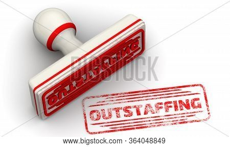 Outstaffing. The Seal And Imprint. The White Seal And Red Imprint With Word Outstaffing On White Sur