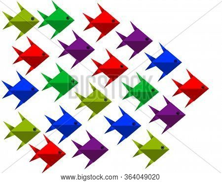 Colorful origami fishes with in one direction