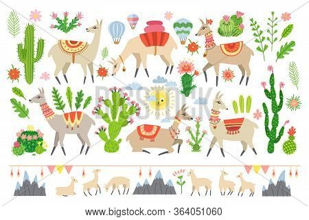 Colorful Lama Set In Cartoon Style Isolated