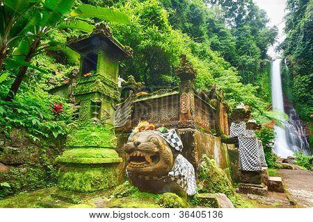 Beautiful waterfall in rainforest. Bali poster