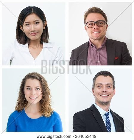 Happy Satisfied Diverse Customers Isolated Portrait Set. Smiling Men And Women Of Different Ages And