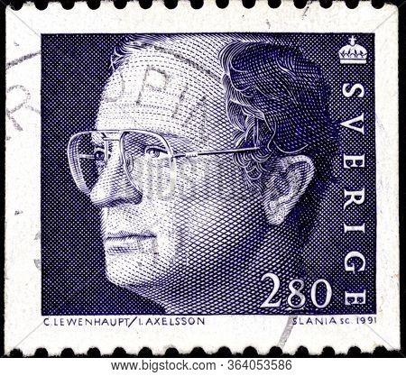 02.11.2020 Divnoe Stavropol Territory Russia Postage Stamp Sweden 1991 Carl Xvi Gustaf Portrait Of T