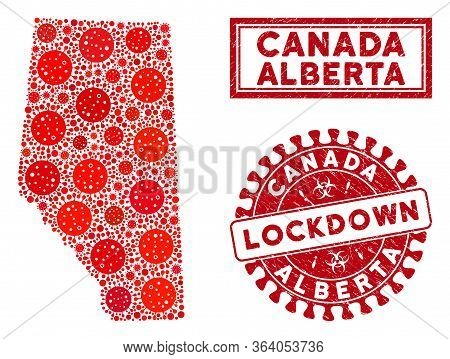 Covid-2019 Virus Mosaic Alberta Province Map And Seal Stamps. Red Round Lockdown Distress Seal. Vect