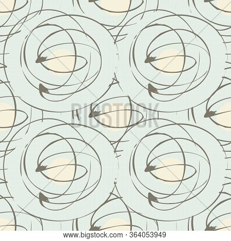 Scribbled Ink Line Circle Vector Seamless Pattern Background. Retro Brush Stroke Swirls Pastel Blue