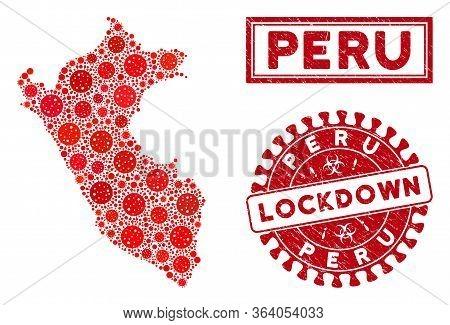 Flu Virus Mosaic Peru Map And Seal Stamps. Red Round Lockdown Distress Seal Stamp. Vector Coronaviru